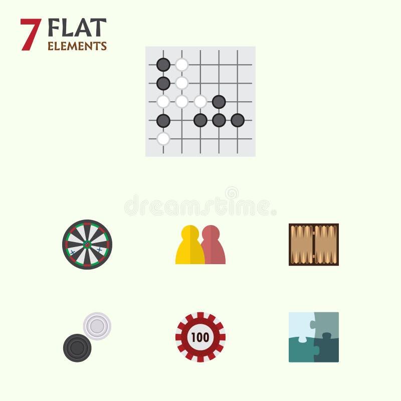 Плоский комплект игры значка стрелки, покера, людей и других объектов вектора Также включает стрелку, таблицу, предназначенные дл иллюстрация вектора