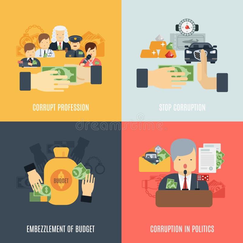 Плоский комплект коррупции иллюстрация штока