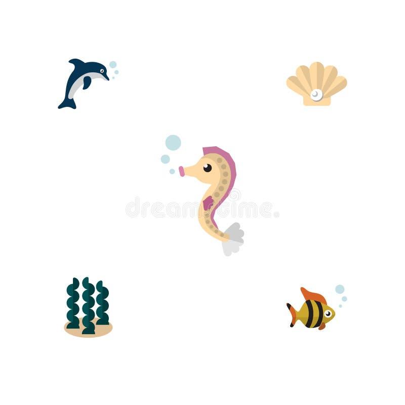 Плоский комплект моря значка шаловливых рыб, морепродуктов, раковины и других объектов вектора Также включает гиппокамп, раковину иллюстрация вектора