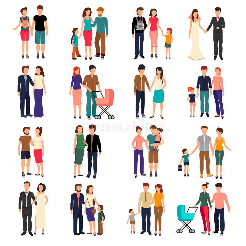 Плоский комплект семьи бесплатная иллюстрация
