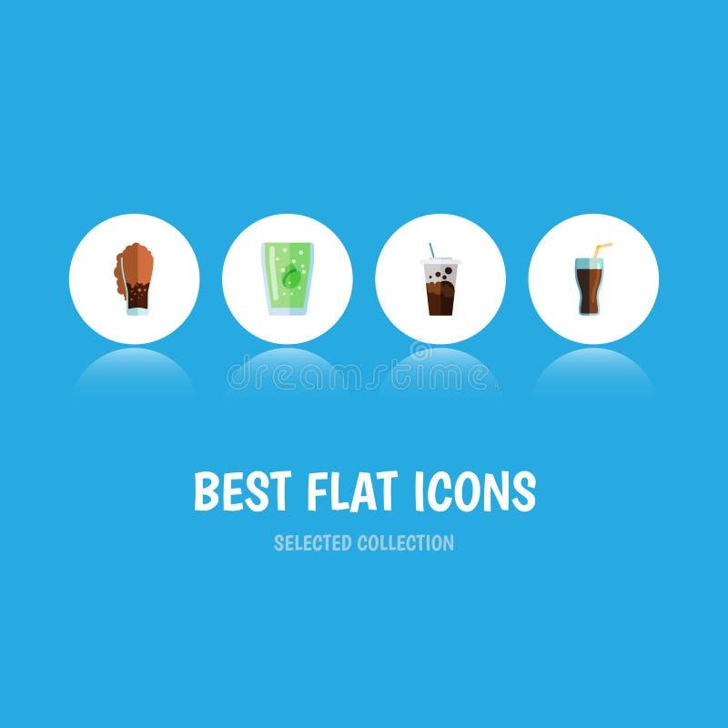 Плоский комплект соды значка газированного питья, соды, чашки и других объектов вектора Также включает Carbonated, питье, элемент бесплатная иллюстрация