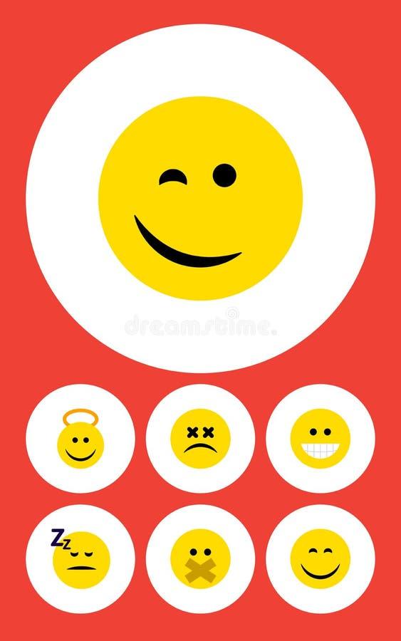 Плоский комплект стороны значка объектов Анджела, уснувших, подмигивать и другого вектора Также включает счастливое, утеха, элеме иллюстрация вектора