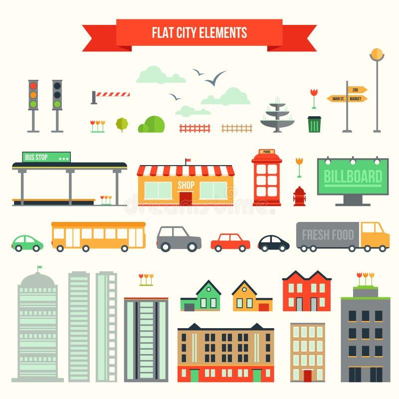 Плоский комплект элементов города иллюстрация штока