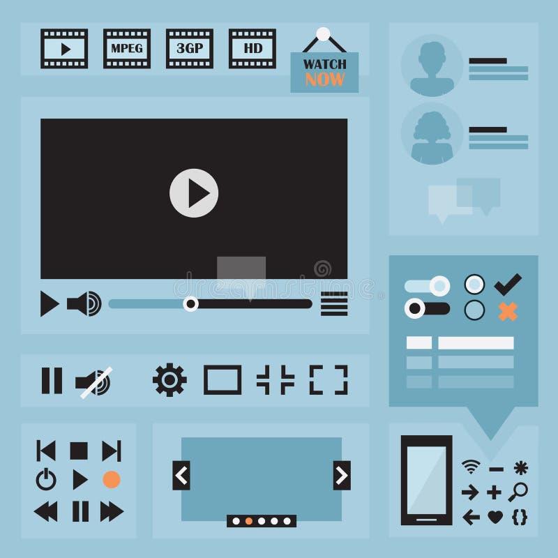 Плоский комплект элементов дизайна UI для сети и черни бесплатная иллюстрация