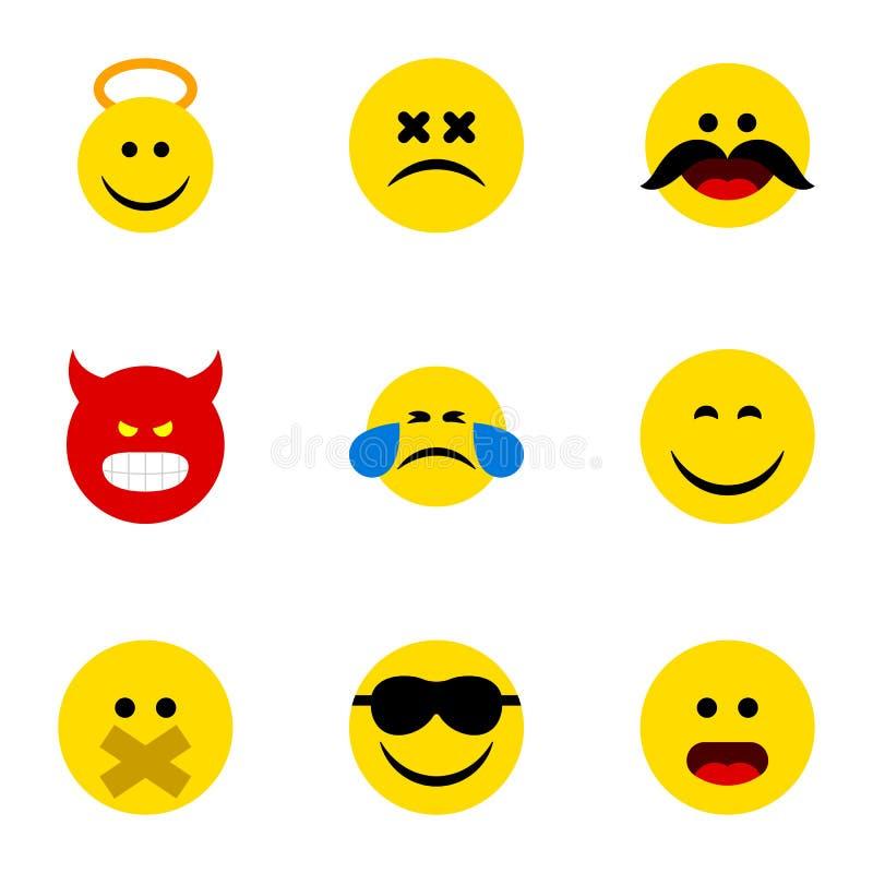 Плоский комплект Emoji значка улыбки, Hush, Анджела и других объектов вектора Также включает сторону, смайлик, счастливые элемент иллюстрация штока