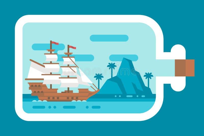 Плоский корабль дизайна в бутылке иллюстрация вектора