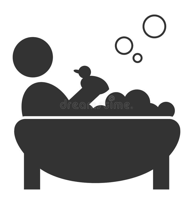 Плоский купая значок при утка изолированная на белизне бесплатная иллюстрация