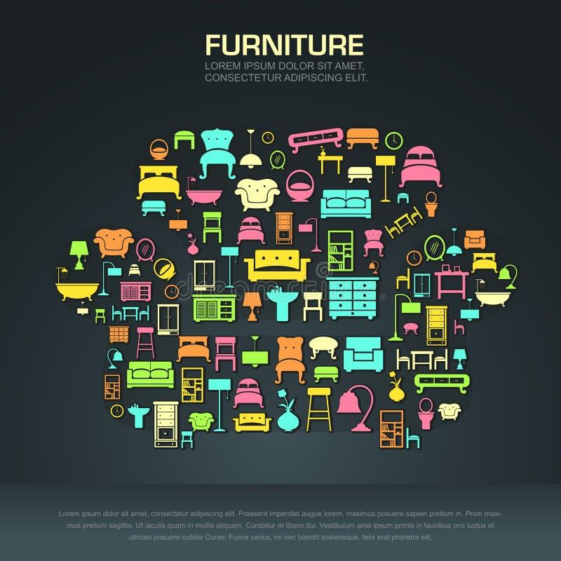 Плоский домашний дизайн значка мебели в форме софы иллюстрация штока