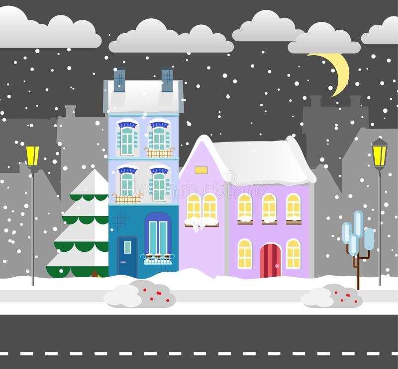 Плоский дом зимы стиля коттедж также вектор иллюстрации притяжки corel Предпосылка снежностей Плоская карточка зимы дизайна иллюстрация вектора
