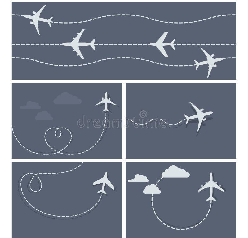 Плоский полет - поставленная точки трассировка самолета иллюстрация штока