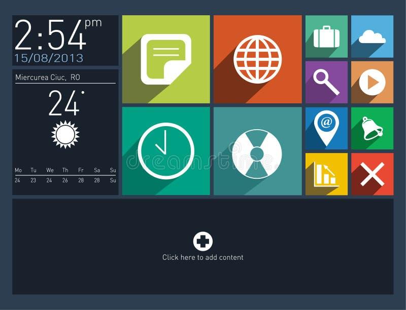 Плоский пользовательский интерфейс с длинними значками тени бесплатная иллюстрация