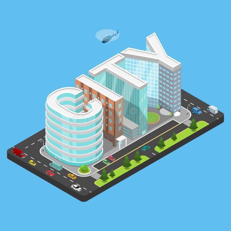 Плоский равновеликий вектор автостоянки здания слова ГОРОДА бесплатная иллюстрация