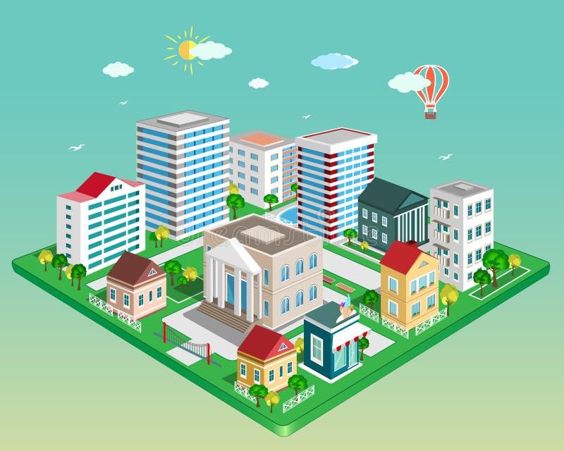 Плоский равновеликий город 3d Комплект детальных равновеликих зданий вектора бесплатная иллюстрация