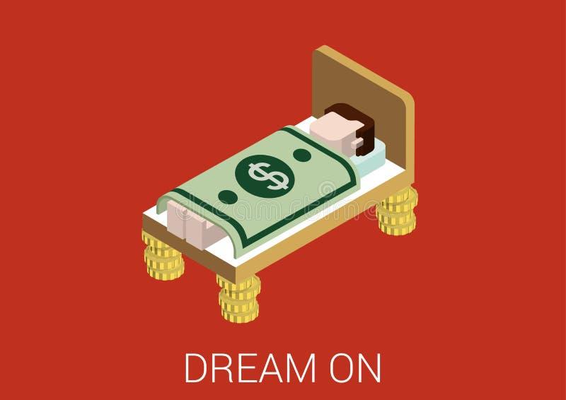 Плоский равновеликий значок концепции сети мечты денег 3d иллюстрация вектора