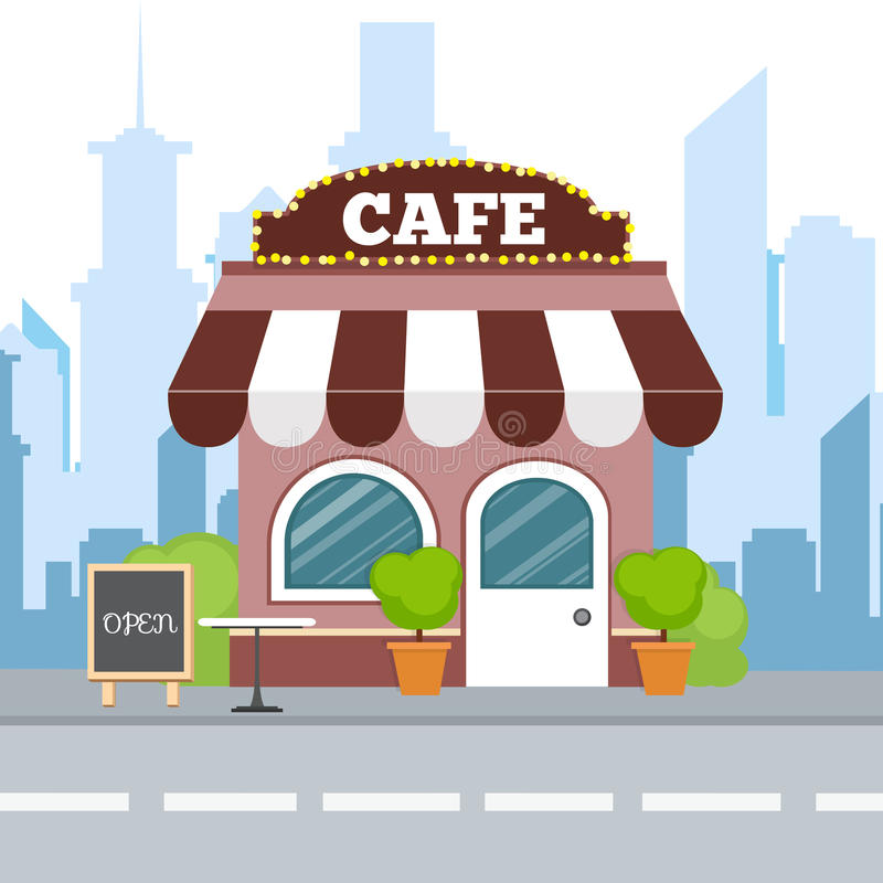 Плоский равновеликий дизайн Buildi ресторана красочного кафа равновеликое иллюстрация штока