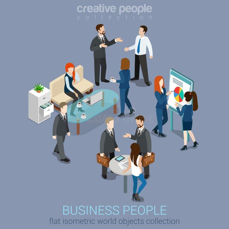 Плоский равновеликий интерьер комнаты офиса 3d: бизнесмены вещества бесплатная иллюстрация