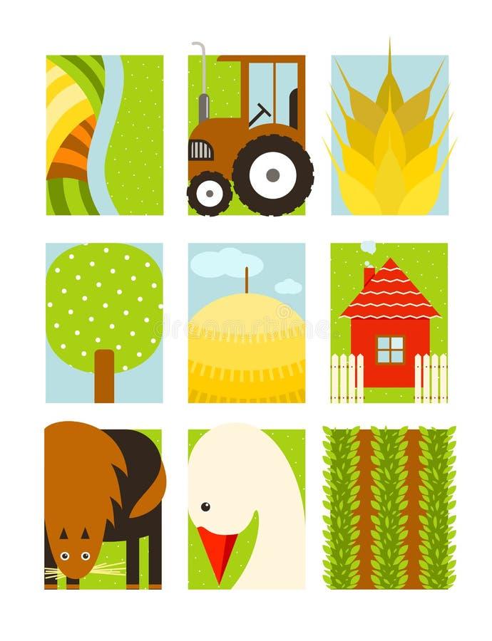 Плоский ребяческий прямоугольный комплект фермы земледелия иллюстрация вектора