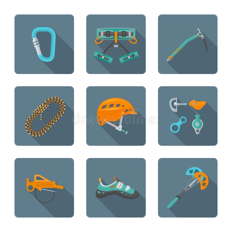 Плоский стиль покрасил различное собрание значков инструментов alpinism бесплатная иллюстрация