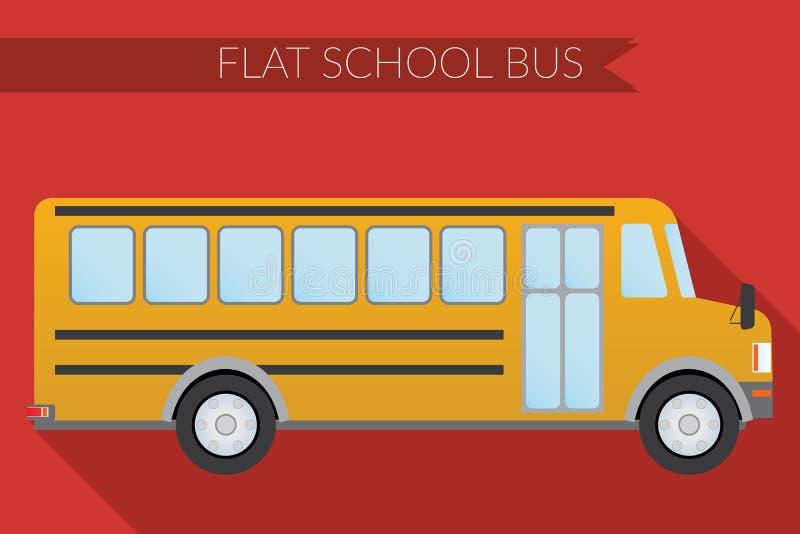 Плоский транспорт города иллюстрации вектора дизайна, школьный автобус, взгляд со стороны иллюстрация штока