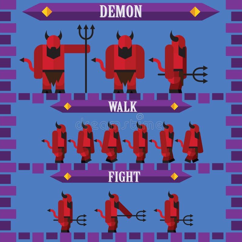 Плоский характер игры хеллоуина для дьявола демона дизайна иллюстрация штока