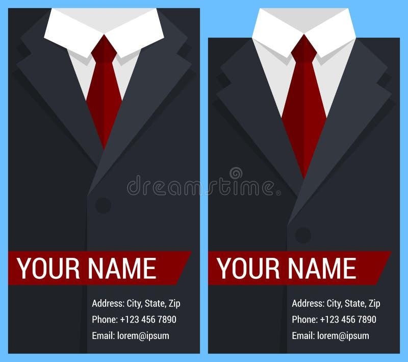 Плоский шаблон визитной карточки с черной курткой иллюстрация штока