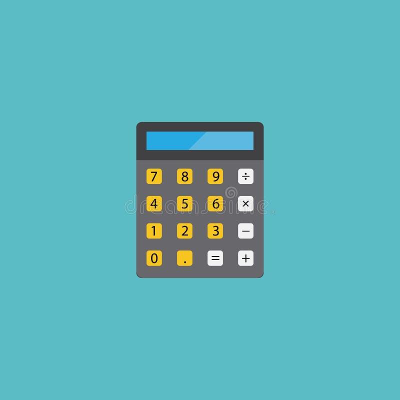 Плоский элемент калькулятора значка Иллюстрация вектора плоской бухгалтерии значка изолированная на чистой предпосылке Может быть иллюстрация вектора