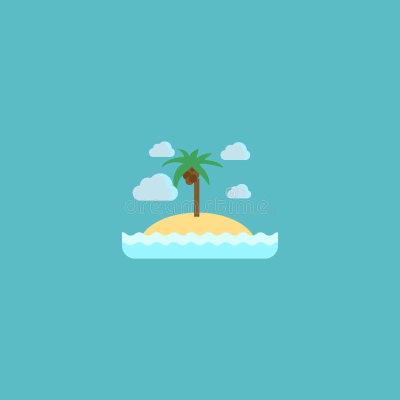 Плоский элемент острова значка Иллюстрация вектора плоского изолированного пляжа острова значка иллюстрация штока