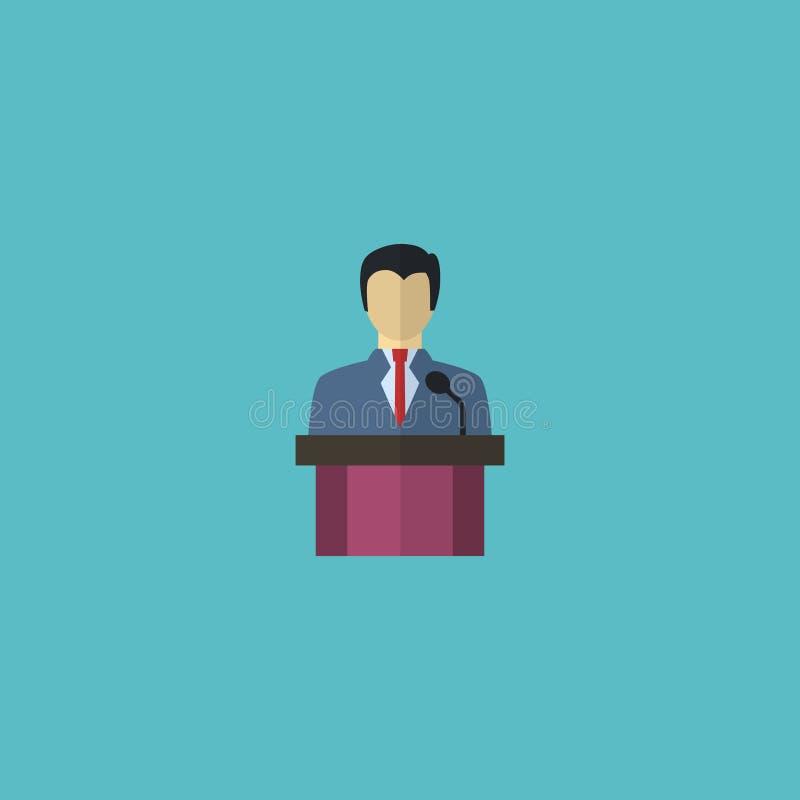 Плоский элемент руководителя значка Иллюстрация вектора плоского бизнесмена значка изолированного на чистой предпосылке Может быт бесплатная иллюстрация