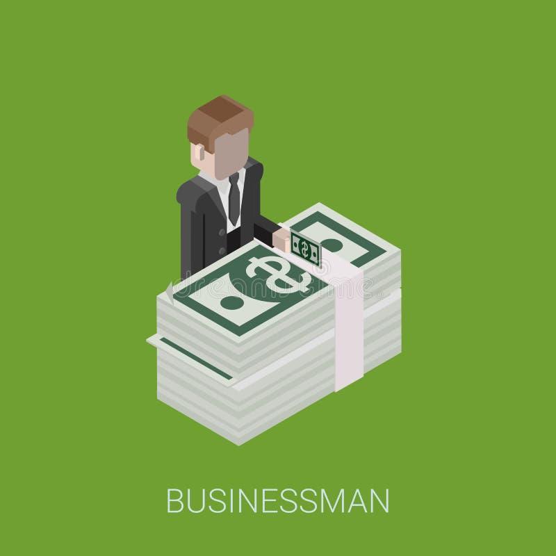 Плоский 3d равновеликий миллиардер, инвестор, богатый человек, миллионер иллюстрация штока
