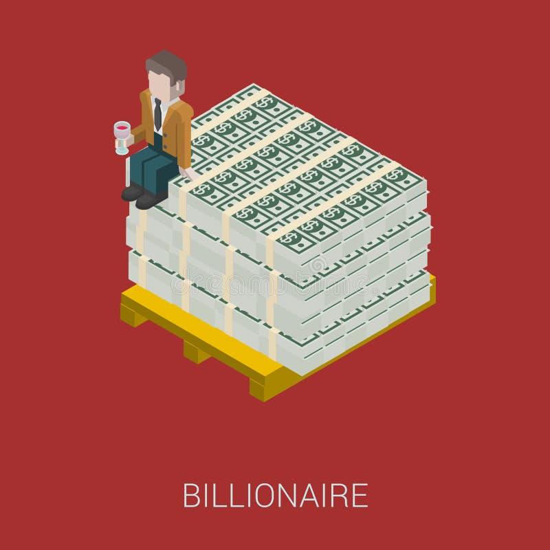 Плоский 3d равновеликий миллиардер, олигарх, богатый человек, миллионер бесплатная иллюстрация