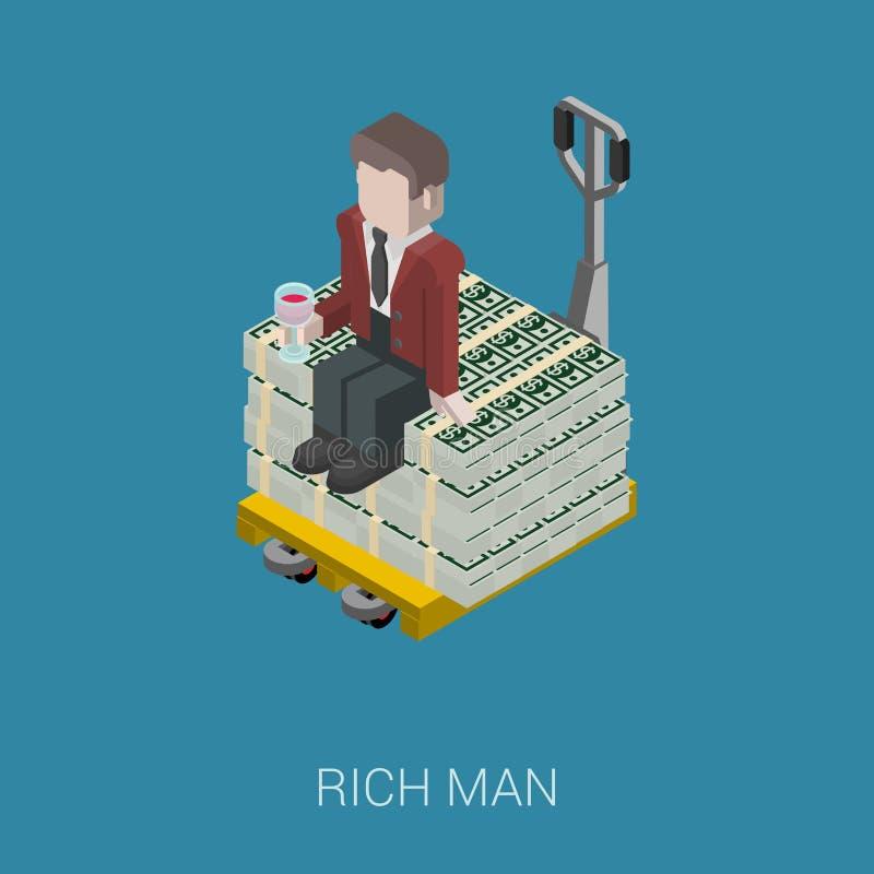 Плоский 3d равновеликий миллиардер, олигарх, богатый человек, миллионер иллюстрация вектора
