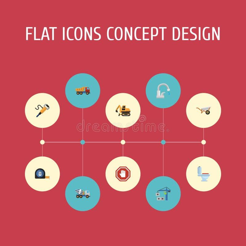 Плоский Faucet значков, уборный, знак стопа и другие элементы вектора Комплект символов значков конструкции плоских также включае иллюстрация вектора