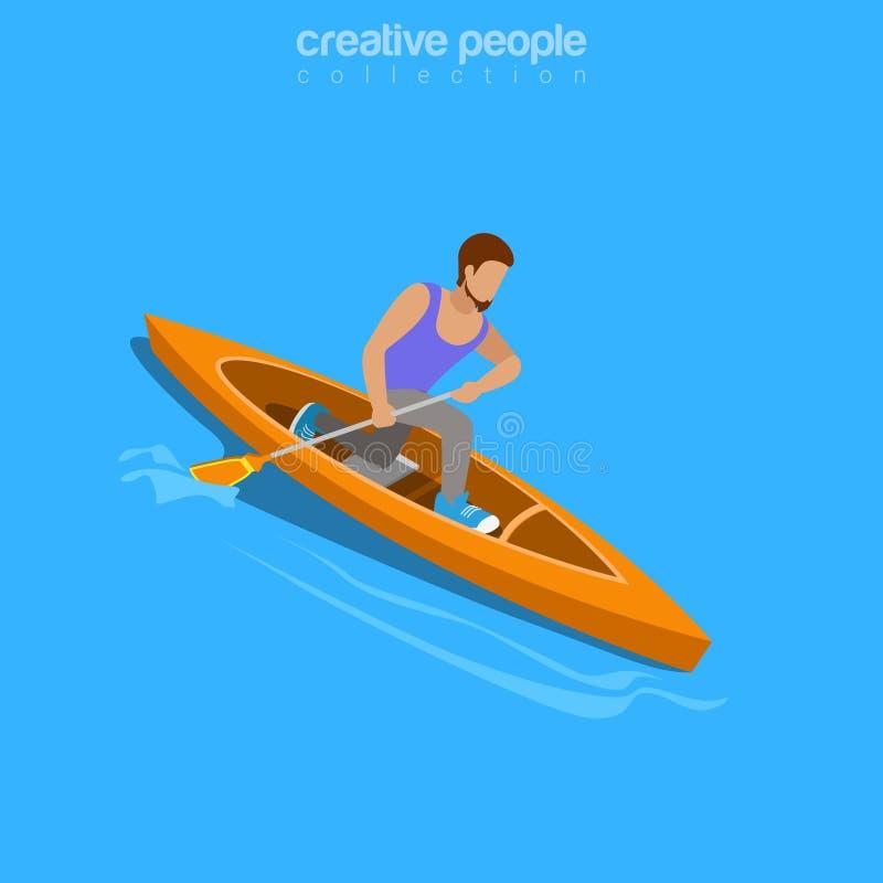 Плоский isometry kayaker вектора вебсайта 3d сплавляя r иллюстрация штока