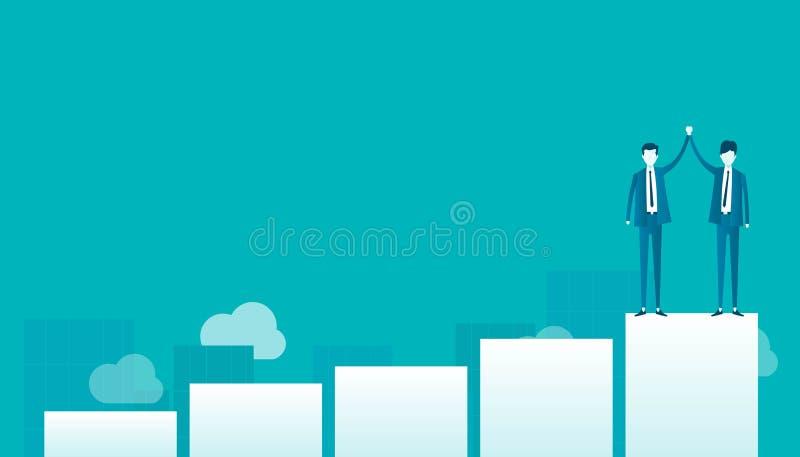 Плоское действие бизнесмена вектора 2 на диаграмме и успехе в бизнесе иллюстрация штока