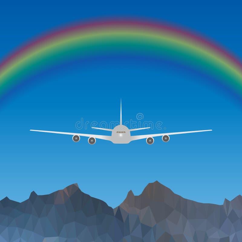 Плоское летание над голубым небом с радугой над высокими горами бесплатная иллюстрация