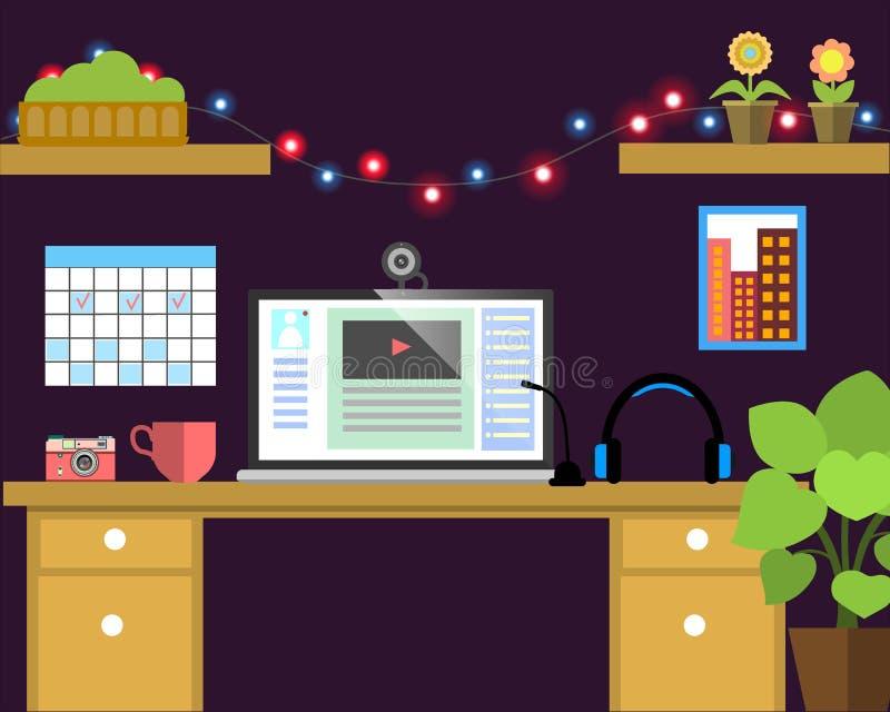 Плоское знамя сети рабочего места Плоское видео- место для работы иллюстрации блоггера, концепции для дела, управления, стратегии иллюстрация вектора