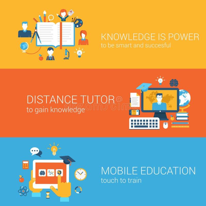Плоское знание сила, концепция образования гувернера расстояния передвижная иллюстрация вектора