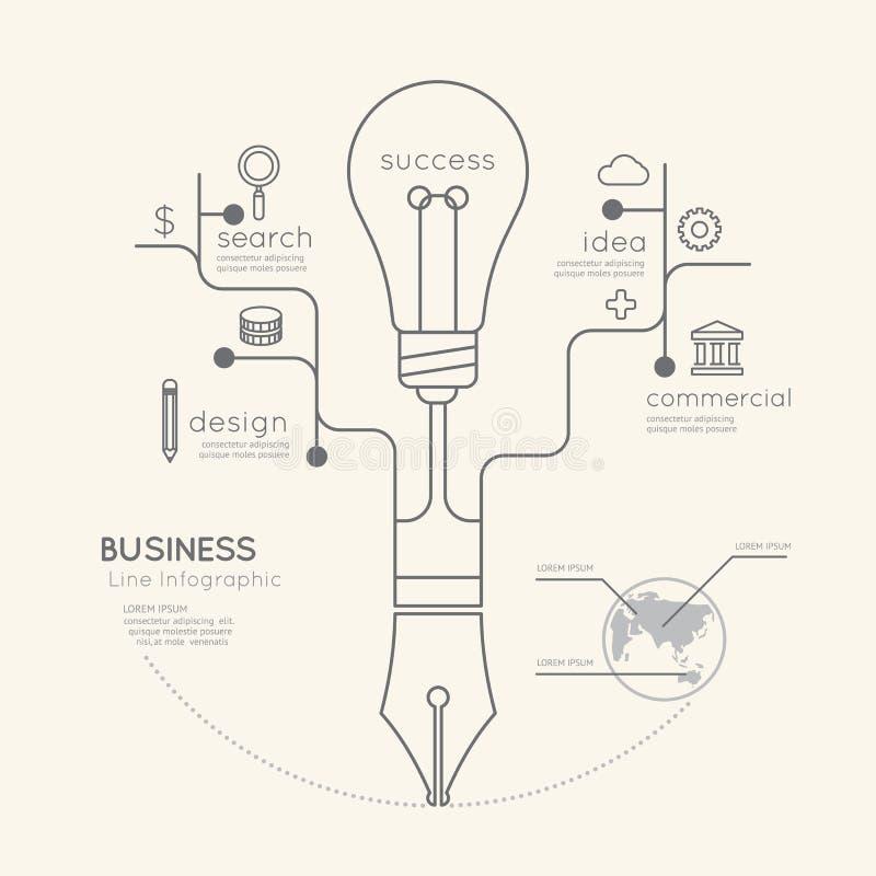 Плоское линейное дерево ручки коммерческого образования Infographic с светом бесплатная иллюстрация