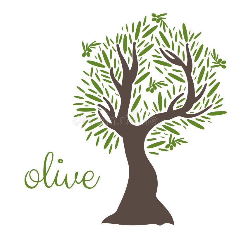 плоское оливковое дерево вектор иллюстрация штока