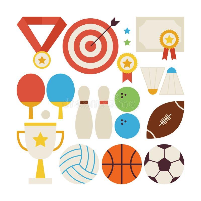 Плоское собрание вектора стиля воссоздания и конкуренции спорта иллюстрация вектора
