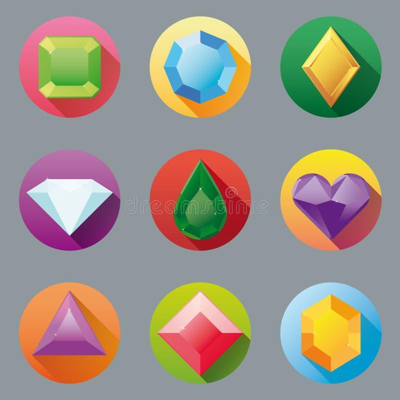 Плоское собрание значка самоцвета дизайна бесплатная иллюстрация