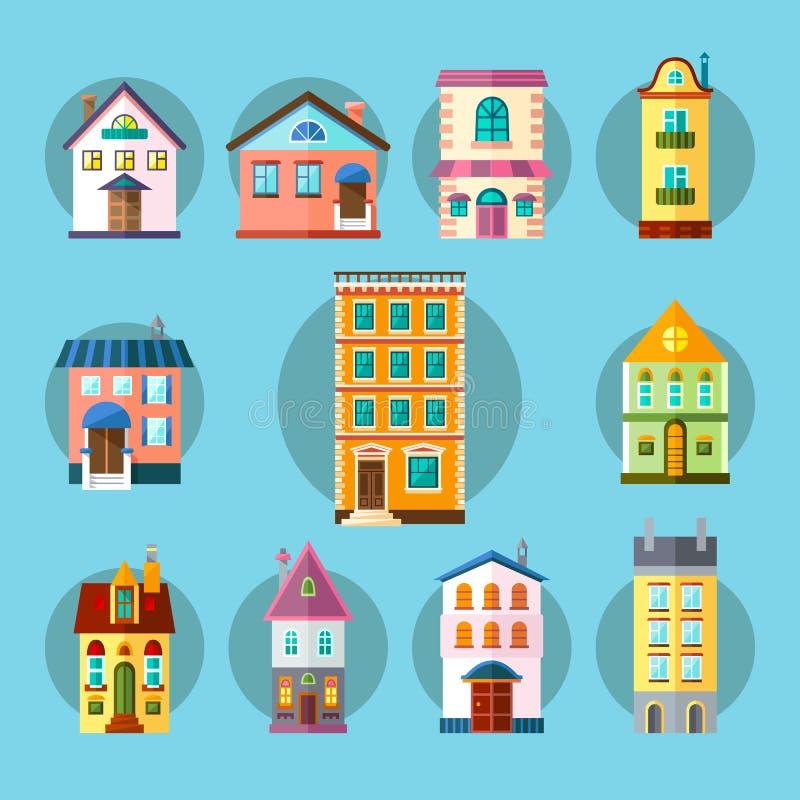 Плоское собрание зданий города и городка иллюстрация вектора