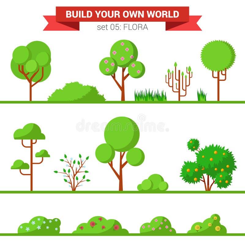 Плоское собрание флоры зеленого цвета вектора: завод, дерево, куст, трава бесплатная иллюстрация