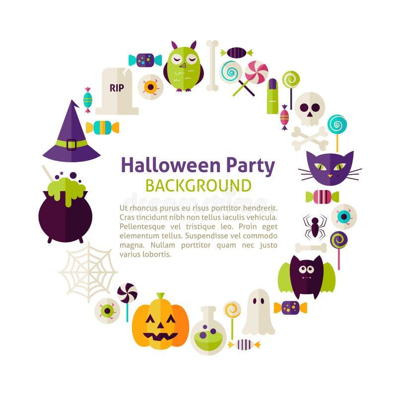 Плоское собрание шаблона круга вектора стиля партии хеллоуина бесплатная иллюстрация