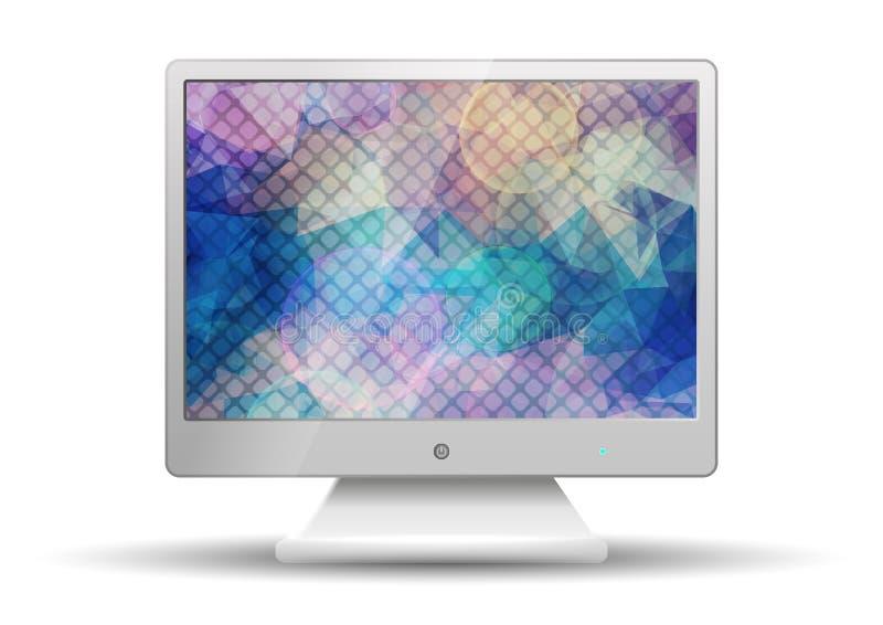 Плоское ТВ с экраном современного красочного треугольника полигональным иллюстрация вектора