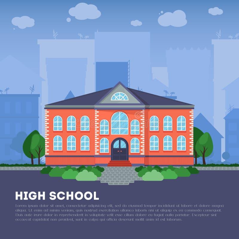 Плоское школьное здание в большом городе иллюстрация штока