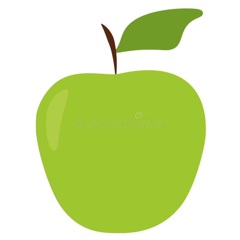 Плоское яблоко зеленого цвета значка иллюстрация вектора