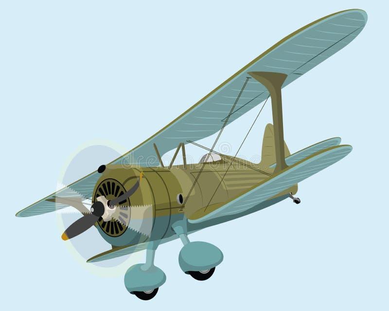 плоскость самолет-биплана старая иллюстрация вектора