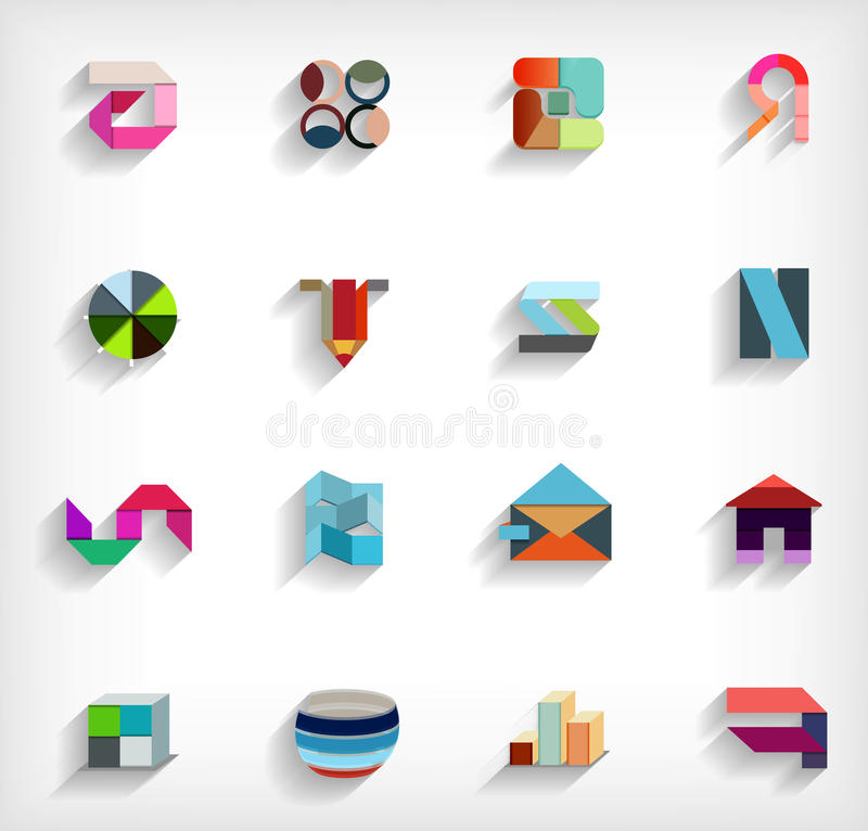 плоско геометрический абстрактный комплект значка дела 3d иллюстрация вектора