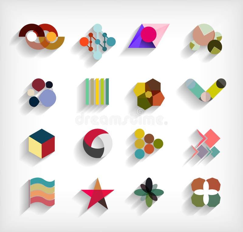 плоско геометрический абстрактный комплект значка дела 3d иллюстрация штока